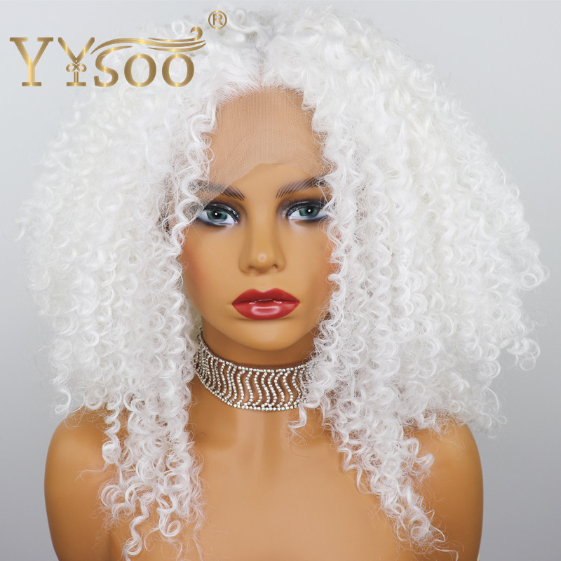 YYsoo 13x4 Short White Curly Synthetic Lace Front Wigs Cosplay For Women Glueless Afro Kinky Curly White Wig Natural Hairline
