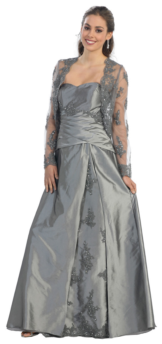 2016 Direct Selling Rushed Appliques Taffeta Free Shipping Plus Size Evening Corset Gown Mother Of The Bride Dress With Jacket