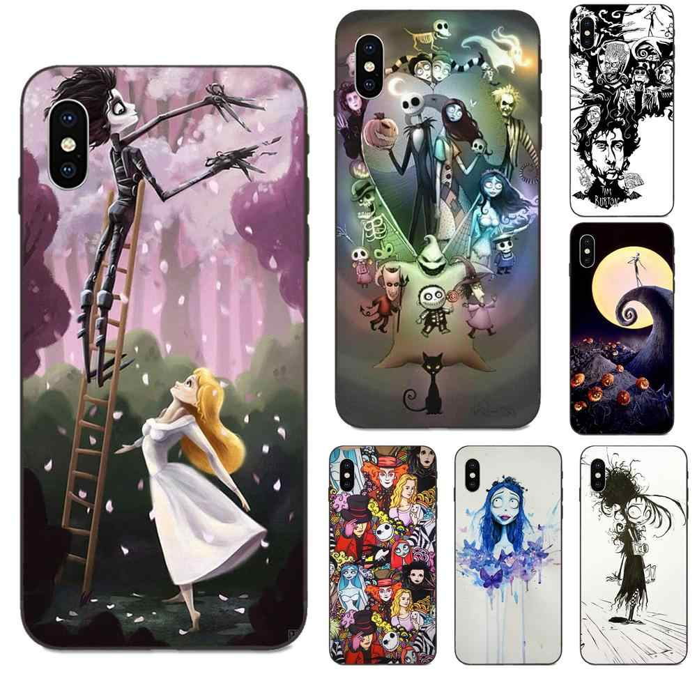Para apple iphone 4 4S 5 5S se 6 s 7 8 11 plus x xs max xr pro max capa macia tim burton