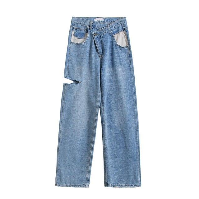 Vintage Asymmetrical Waist Straight Jeans Loose Denim 7