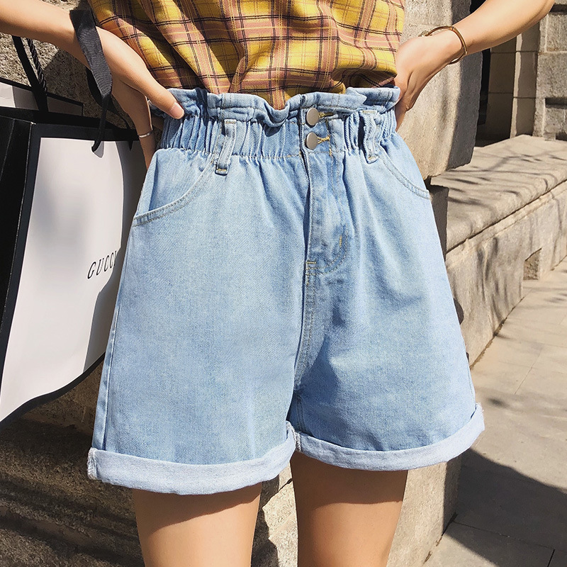 Summer Wide-Leg Loose-Fit Shorts Women's Elastic Waist Bud Pants Apricot Dad Pants Women's High-waisted Casual Korean Style Jean