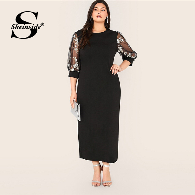 Sheinside Plus Size Black Elegant Contrast Embroidery Mesh Dress Women 2019 Autumn 3/4 Sleeve Straight Dresses Ladies Maxi Dress