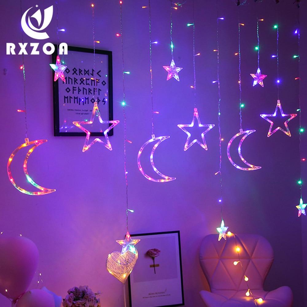 Led moon star lights lantern string holiday lights starry room romantic curtain lights Christmas decoration hanging lamp decor