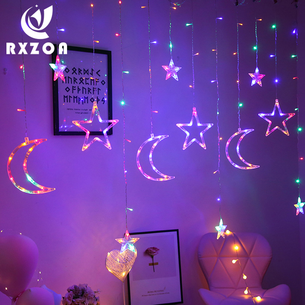Led Moon Star Lights Lantern String Holiday Lights Starry Room Romantic Curtain Lights Christmas Decoration Hanging Lamp Decor