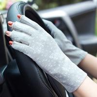 Women's Cotton Summer Gloves Fingerless Half Finger Anti-Skid Sun Protection Printing Thin Dot Short Driving Gloves 1
