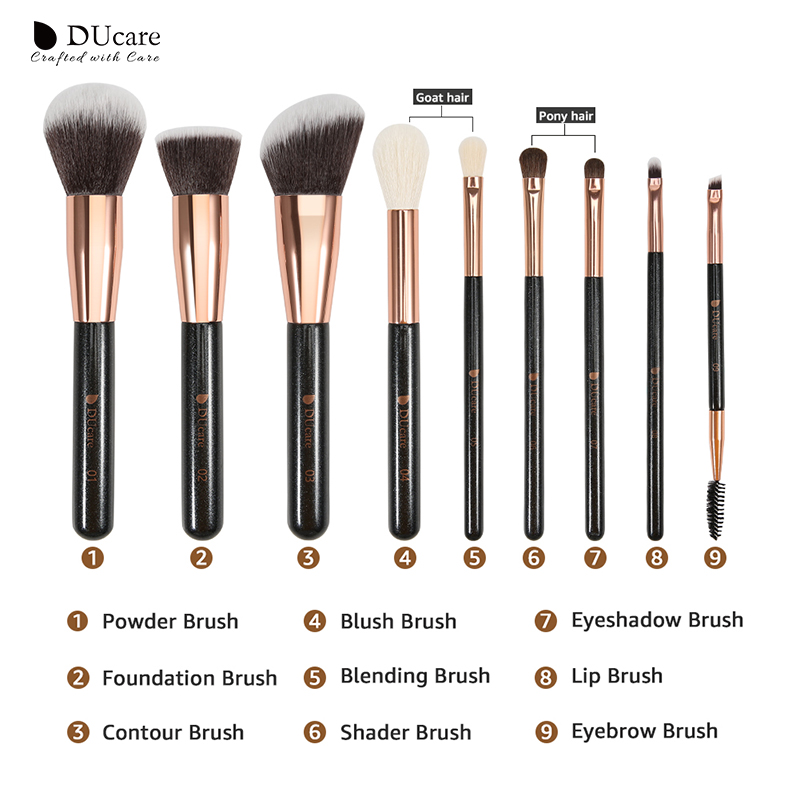 Image 5 - DUcare 9 Pieces Makeup Brush Set Powder Foundation Highlight Eye Make up Brushes with Bag Beauty Makeup ToolsEye Shadow Applicator   -