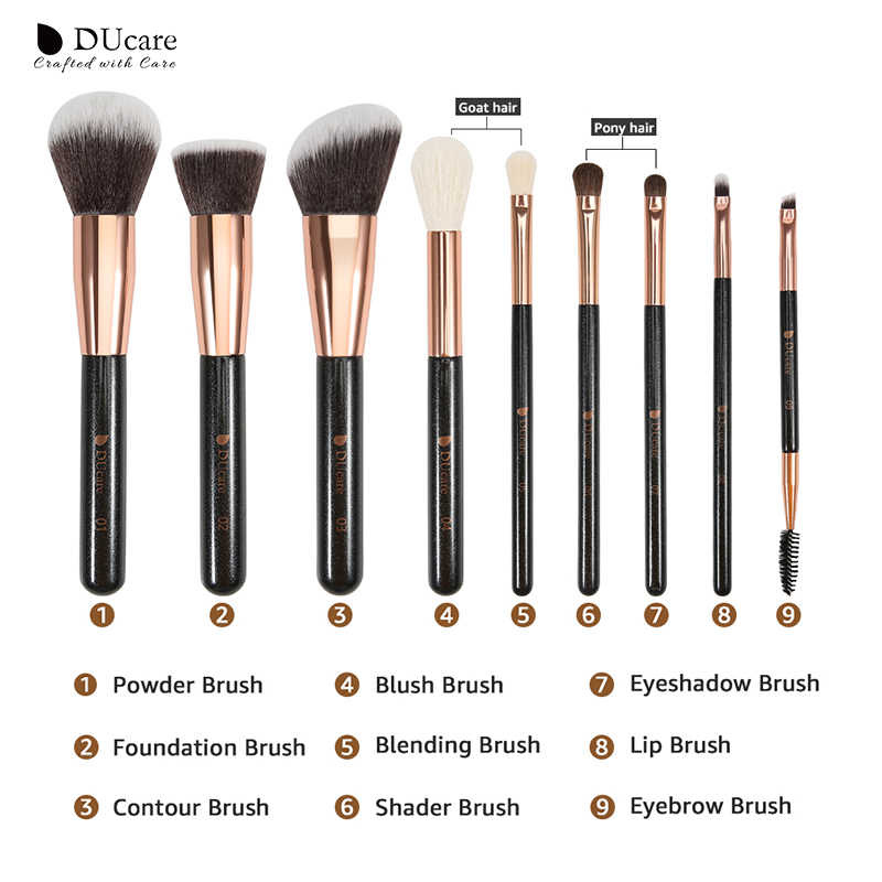 DUcare 9 Stuks Make-Up Borstel Set Poeder Foundation Hoogtepunt Oog Make up Borstels met Tas Beauty Makeup Tools