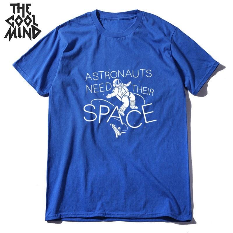 COOLMIND 100% cotton short sleeve space print men tshirt casual summer men t shirt loost o-neck t-shirt male men tee shirts