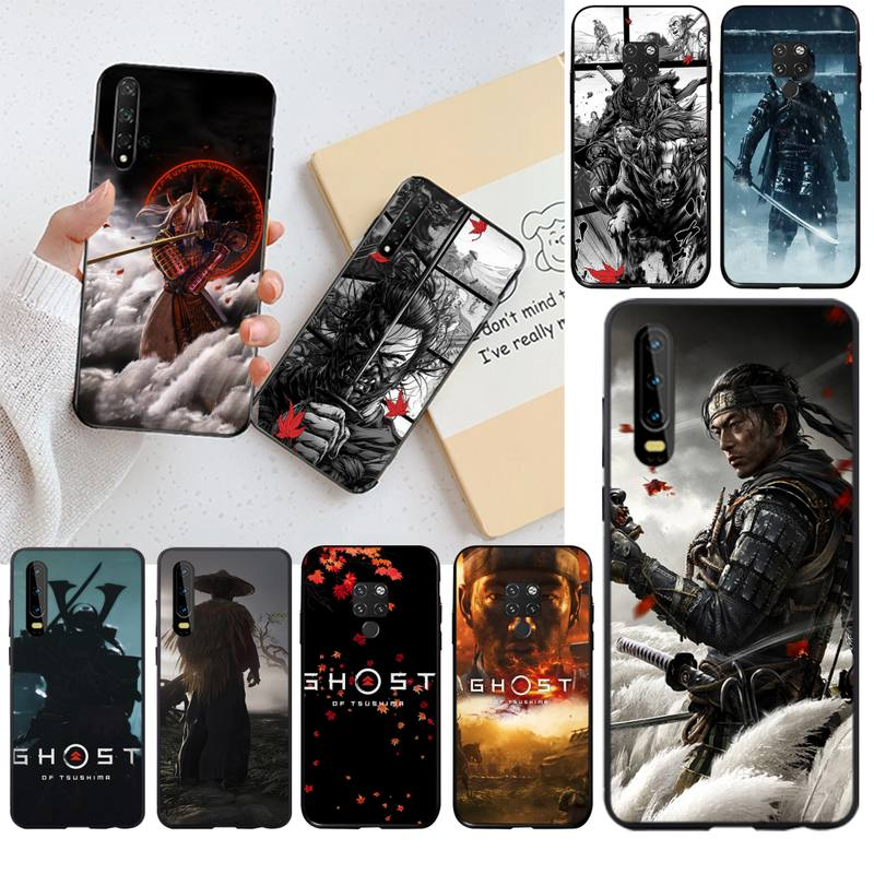 YJZFDYRM Hot Game <font><b>Ghost</b></font> of Tsushima <font><b>Shell</b></font> Phone <font><b>Case</b></font> for Huawei P40 P30 P20 lite Pro Mate 30 20 Pro P Smart 2019 prime image