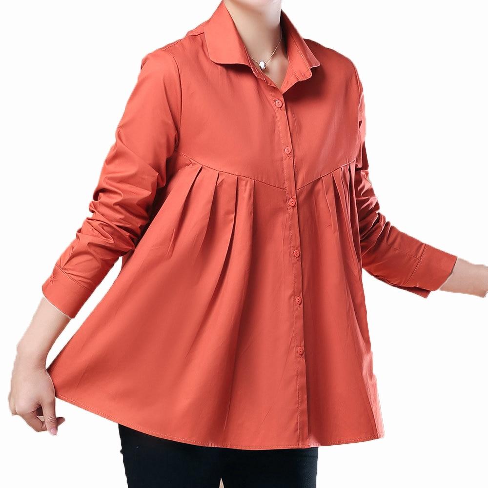 Femme chemise élégante bleu marine Orange coton paysan Blouse FemaleTurn col bas hauts pour femmes tunique de grande taille printemps automne