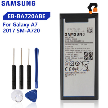 Original Replacement Samsung Battery For Galaxy A7 2017 Version SM-A720 A720 Genuine Phone Battery EB-BA720ABE 3600mAh original samsung replacement battery eb ba715aby for galaxy a71 sm a7160 genuine phone battery 4500mah