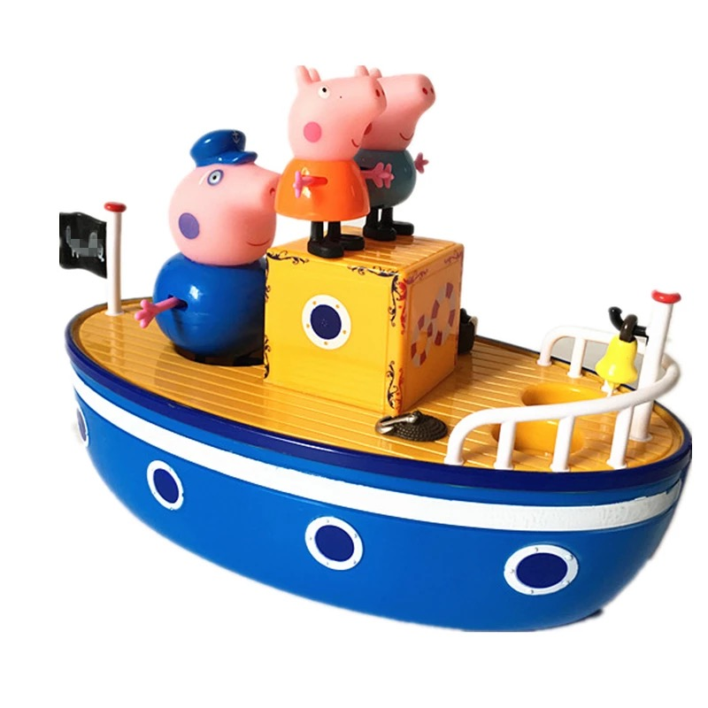 Peppa Pig Toys Sailing Ship DiY Model Family Anime Figure Toy Set Plastic Action Figure Toys For Children Pepa Pig Birthday Gift