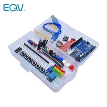 Starter kit para arduino uno r3 breadboard básico simples aprendizagem kit, som/nível de água/umidade/detecção de distância, controle led
