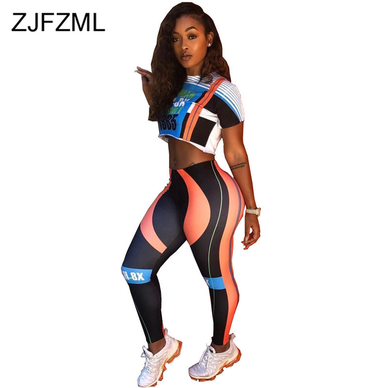 Letter Print Fitness Two Piece Outfits For Women Mock Neck Short Sleeve Crop Top And High Waist Pencil Pants Summer Tracksuit