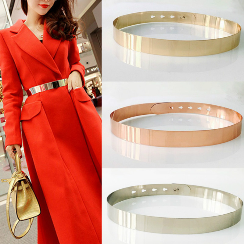Fashion Women Adjustable Metal Designer Belt Bling Gold Silver Plate Vintage Ladies Dress Simple Belts Luxury Mirror Waistband|Women