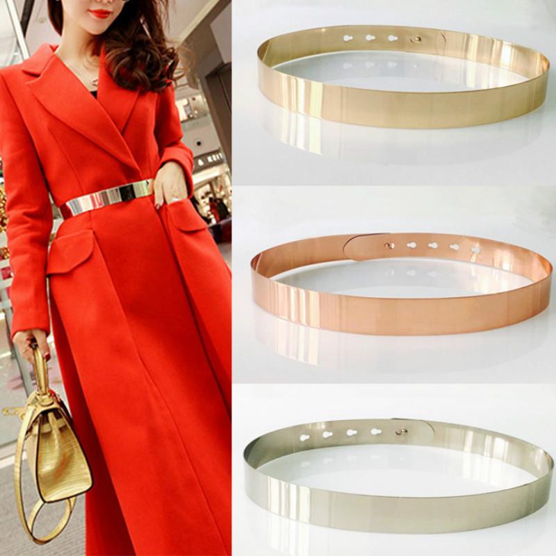 Fashion Women Adjustable Metal Designer Belt Bling Gold Silver Plate Vintage Ladies Dress Simple Belts Luxury Mirror Waistband