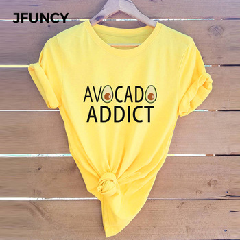 JFUNCY Plus Size Cotton T-Shirt Summer Women T Shirt Funny Letter Print Harajuku Graphic Tees Female Short Sleeve Shirts Tops