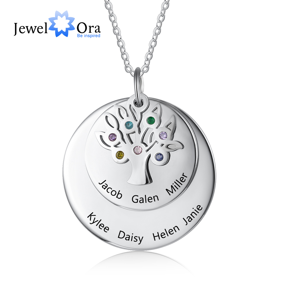 Personalized Family Name Engraved Necklaces For Women Tree Of Life Stainless Steel Pendant Necklace With 7 Birthstones Jewelry