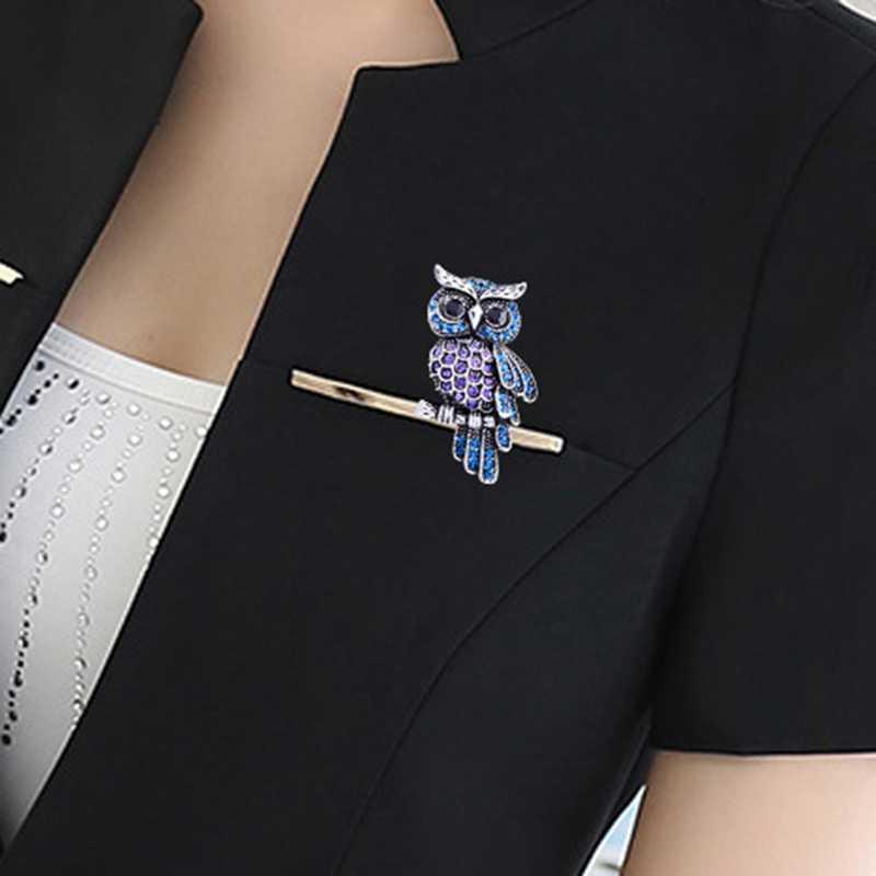 Degli Uomini delle donne Del Gufo Spille Coreano In Lega di Zinco Alla Moda Imitazione di Strass Blu Spilla Distintivo Regali Di Natale Accessori