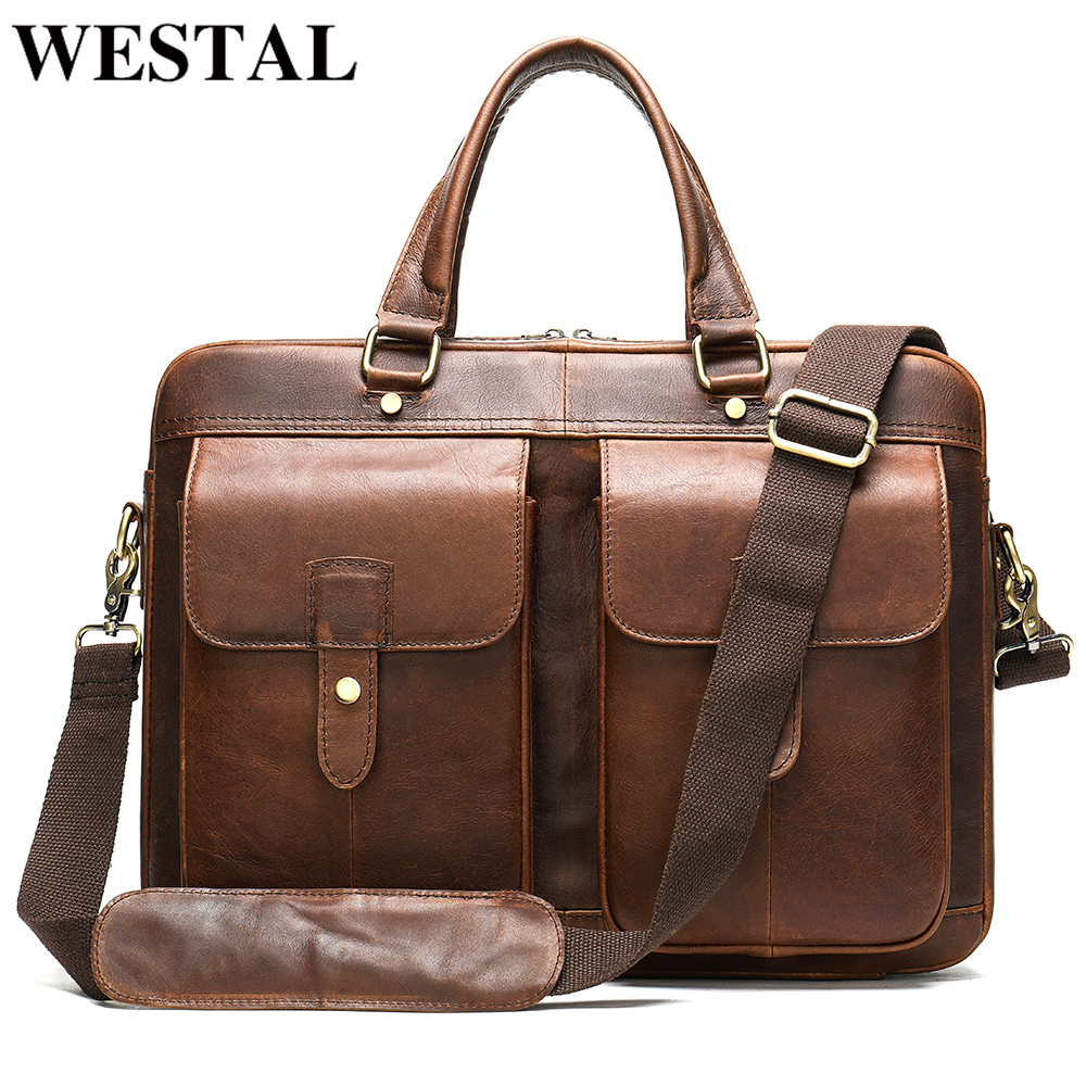 WESTAL Men's Briefcase Bag Men's Leather Porte Document Office Bag For Men Leather Laptop Bag Men Vintage Handbag For Men 7010