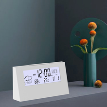 Digital desktop snooze alarm clock with thermometer hygrometer room temperature monitor and humidity meter home weather station
