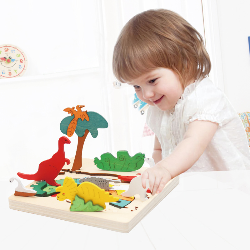 Wooden Children DIY Early Childhood Educational 3D Multilayer Story Jigsaw Puzzle 2-3-4-5 A Year Of Age Baby Cognitive Toy