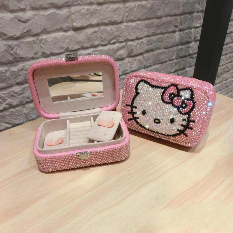 9*5*15CM collant perceuse bricolage kitty boîte à bijoux Portable organisateur de stockage support pour boucle d'oreilles fermeture éclair femmes bijoux affichage étui de voyage