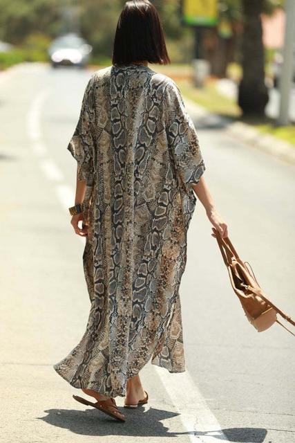Cover-ups 2021 Kaftan Beach Print SnakeSkin Swimsuit cover up Kimono Plage Beach Robe Femme Long Dress Sarong Dress Beachwear 4