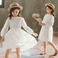 Vestido de encaje de princesa para niña, ropa de algodón con estampado bordado, vestido blanco para playa, vacaciones de 4, 5, 6, 8, 11 y 13 años