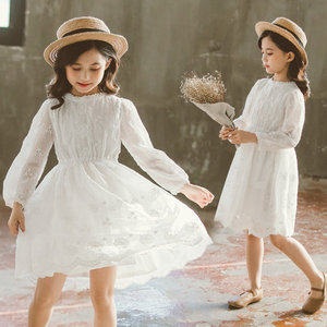Summer Children Lace Princess Dress Clothes Baby Girls Cotton Embroidered Print White Dress for Beach Holiday 4 5 6 8 11 13 Year
