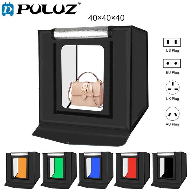 PULUZ 40*40cm 16inc Mini Photo Studio Box Lightbox Photograghy Softbox Led Photo Lighting Studio Shooting Tent Box Kit Light box