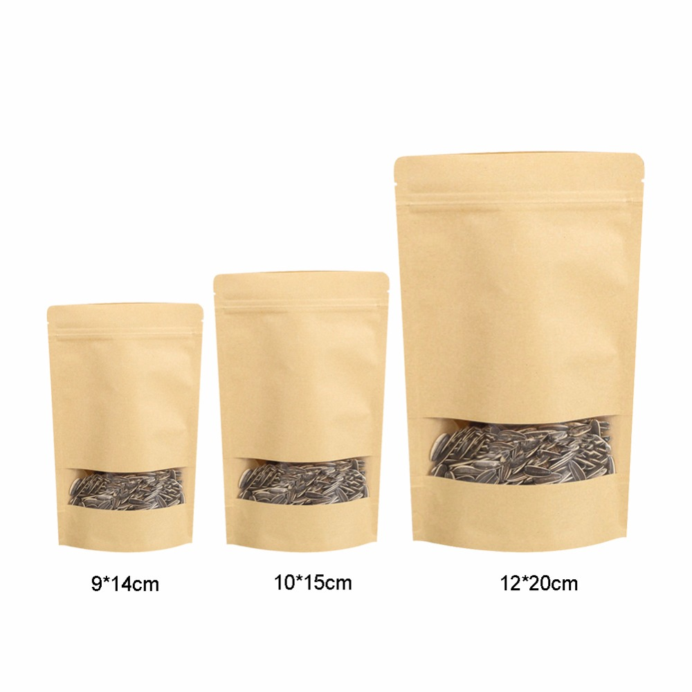 10PCS/pack Packing Zip Lock Kraft Paper Window Bag Stand Up Gift Dried Food Fruit Tea Packaging Pouches Zipper Self Sealing Bags