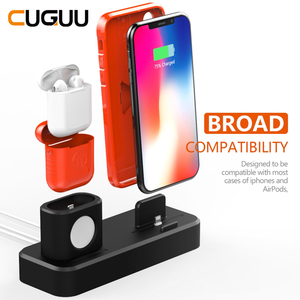 Image 2 - 3 in 1 Charging Dock Station For iPhone Airpods Charge Holder For Apple Watch 2 3 4 Silicone Charging Dock Station Stand Holder