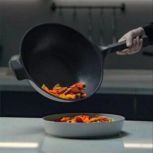 Image 4 - Huohouテフロン加工スーパープラチナフライパン中華鍋ストックポットミルクパン耐久性のあるきれいに簡単に高温度リマインダーキッチンc