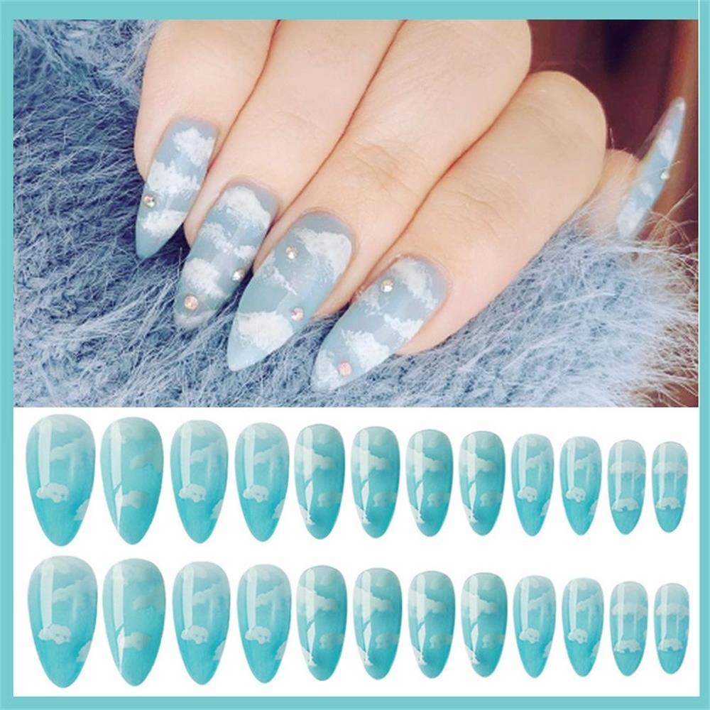 24Pcs/Set Fashion Beauty Fake Nails Clear French Stiletto Blue Sky White Cloud Pattern Design Popular False Nails Tips Art(China)