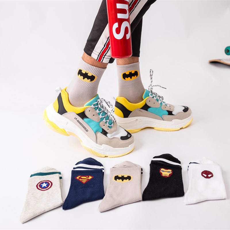 5Pairs New Marvel Comics Heroes Cartoon Iron Man Captain America High Temperature Stitching Pattern Crew Sock Casual Men's Socks