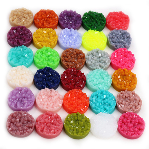 New Fashion 40pcs/Lot 12mm Colorful Natural Ore Flat Back Resin Druzy Cabochons For Bracelet Earrings DIY Jewelry Making