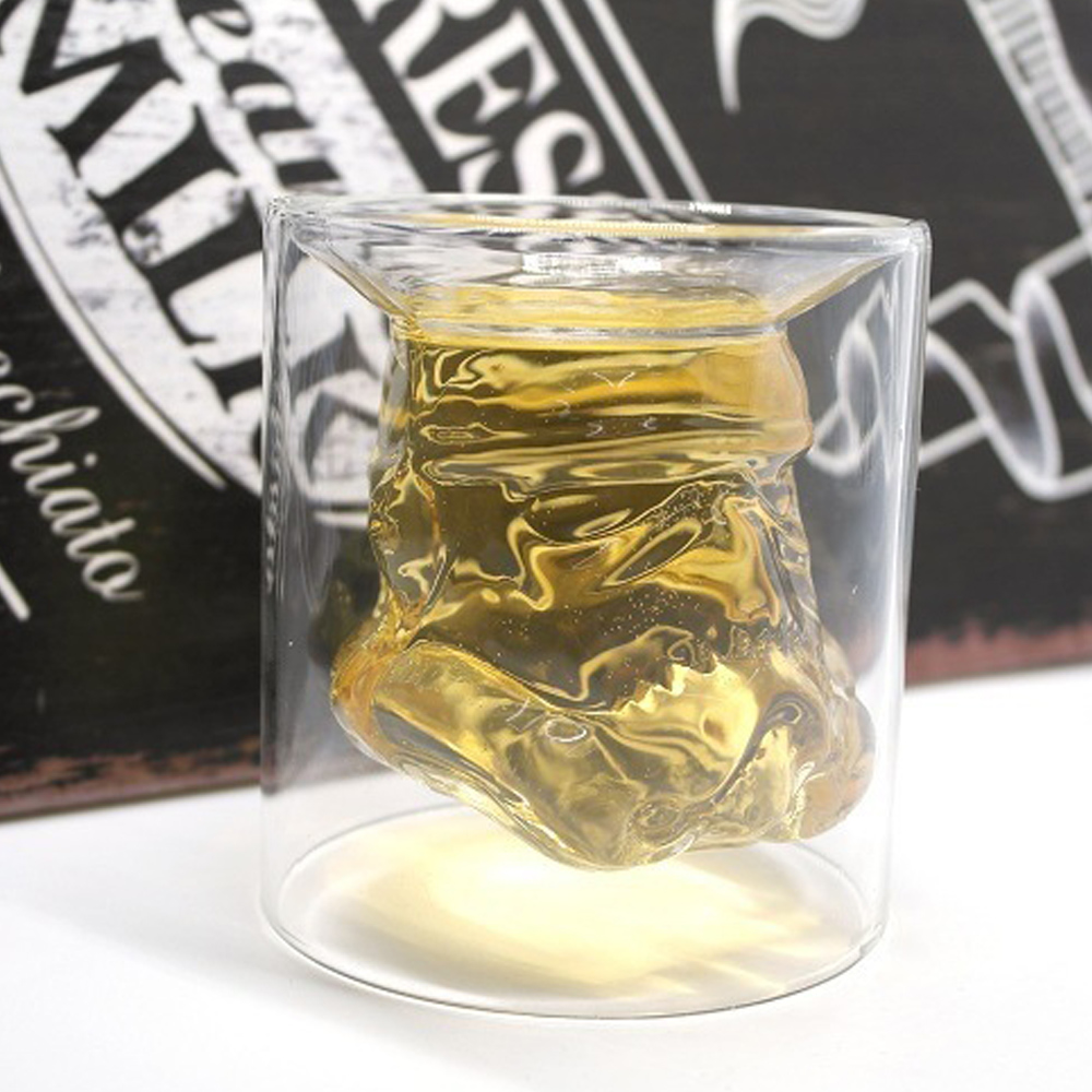 Double Layers Star Wars SStormtrooperr Glass Cup Shoot Glass Brandy Snifter Whiskey Glasses Cup Drinkware Bar Ware For Gifts