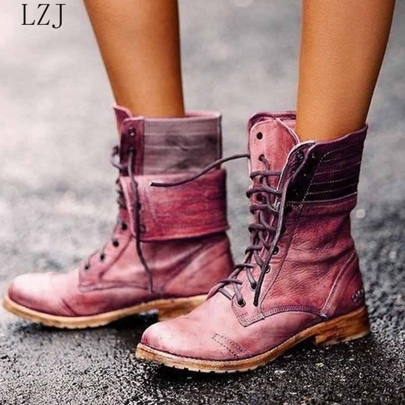 ผู้หญิงกลางลูกวัวรองเท้าบูทรองเท้าส้นสูง Chaussure VINTAGE PU หนัง Gladiator Lace Up Matin รองเท้าผู้หญิง Zapatos Mujer Sapato botas 35-43