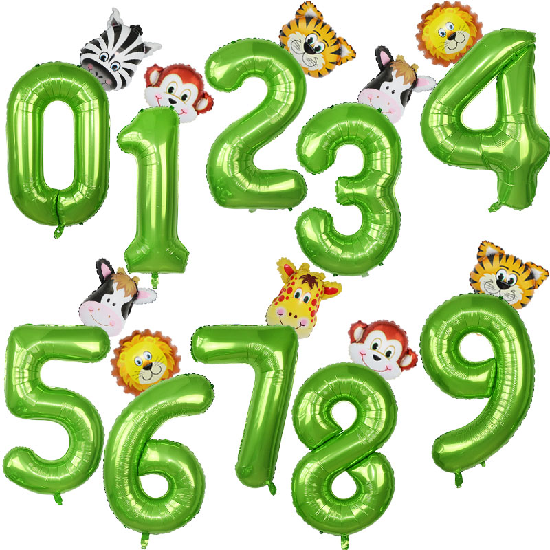 40 Inch Animal Foil Number Balloons Animal Lion Monkey Air Balloons Safari Jungle Party Decoration Kids Birthday Party Supplies