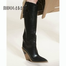 brand microfiber leather women knee high boots sexy pointed toe high heels western boots women Winter chunky wedge boots(China)