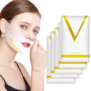 1 5 sztuk 4D podwójne w kształcie litery V twarzy maska podnoszenia zaczep na ucho hydrożel V linia maska do twarzy odchudzanie Chin sprawdź szyi podnoszenia przeciw zmarszczkom tanie i dobre opinie NoEnName_Null Brak elektryczne Other V Line Face Sheet Mask Maszyna wykonana 4D Double V Shaped Face Mask