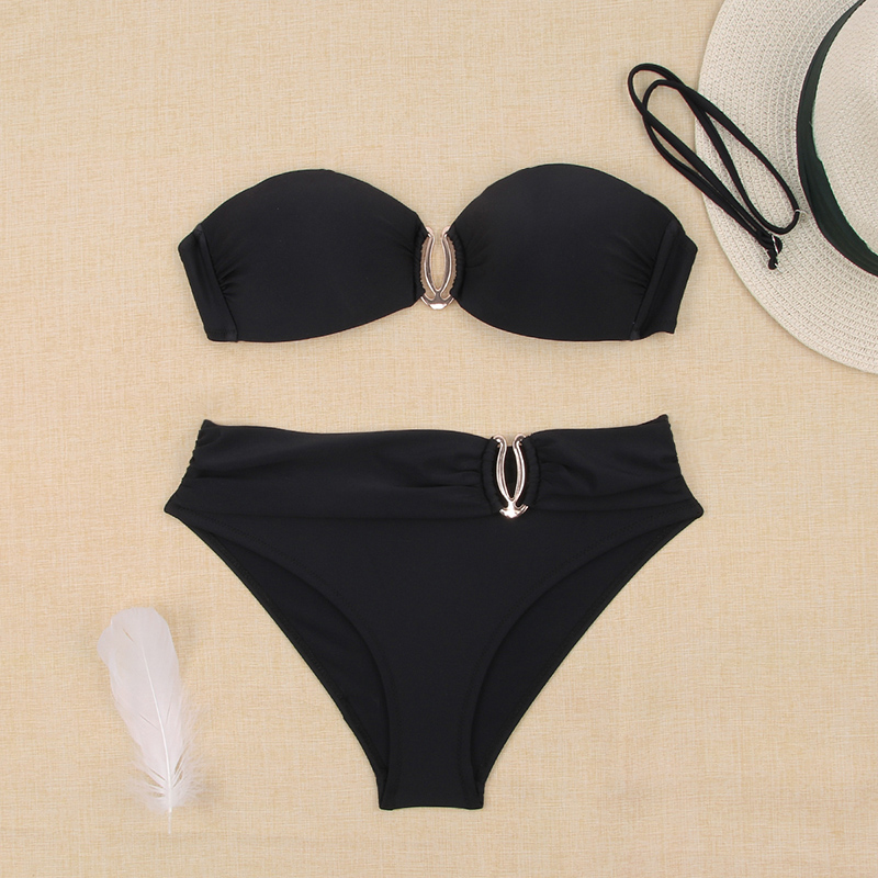 H1360dacd6e784d84816ddfd60da4c70fM - Sexy Bikini Push Up Solid Swimsuit Female Bikinis String Bathing Suit Women Swimwear Bandaeu V Neck Biquini Bikini Set