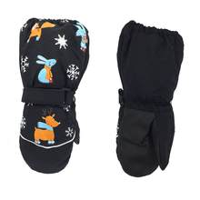 1 пара, новые зимние Детские утепленные лыжные перчатки с рисунком оленя и кролика детские ветрозащитные водонепроницаемые Нескользящие ва...