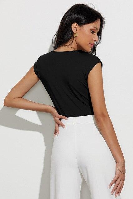 Sexy Body Suits for Women Plunge Neck Solid Bodysuit Women Summer Black Deep V Neck Sleeveless Skinny Bodysuit 3