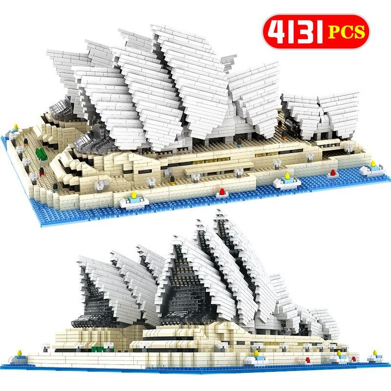 Mini Diamond Blocks Famous City Architecture Sydney Opera House Model Building Blocks Bricks Educational Toys for Kids Gifts