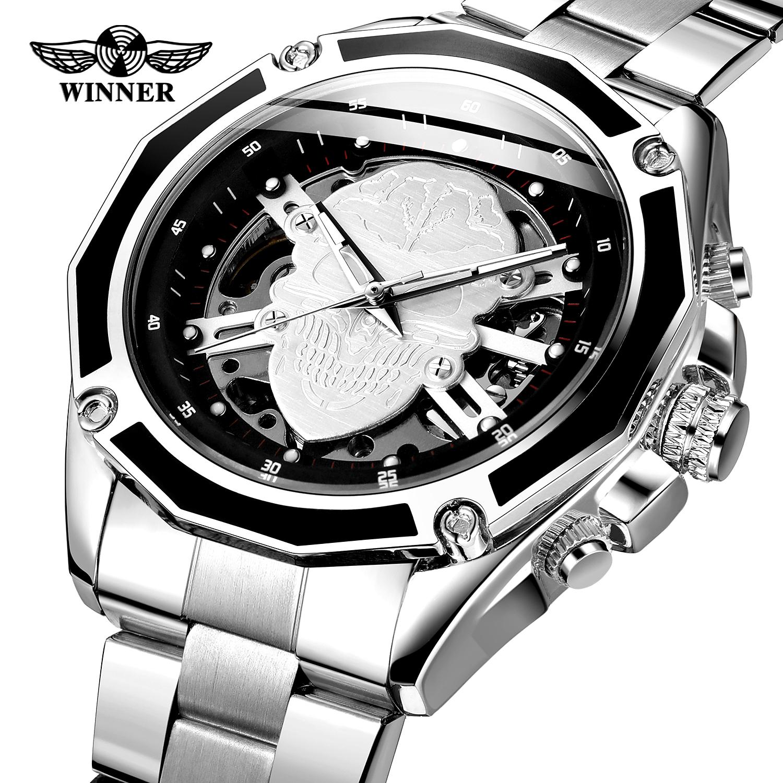 WINNER Brand Black Silver Skull Men Self-wind Mechanical Watch 3D Skeleton Dial Stainless Steel Luminous Hand Business Clock