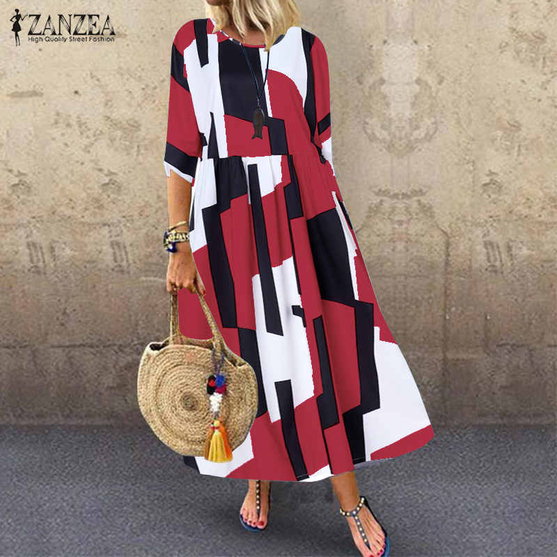 ZANZEA 2019 Fashion Geometric Printed Maxi Dress Women's Sundress Summer 3/4 Sleeve Long Vestidos Female Casual Loose Party Robe