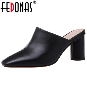 FEDONAS Concise Fashion Women Cow Leather Solid Color Shoes Slingbacks Square Toe Round Heel Wedding Casual Slip-On Shoes Woman