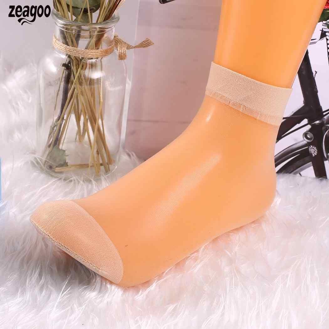 Feminino casual cristal de seda curto tubo sólido ultra-fino par de meias de verão nu, cinza, café escuro, preto